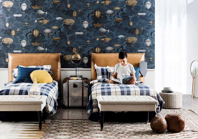 "Disrupt the natural order... Use overlapping rugs and impactful accessories to offset twin beds. Cole & Son Macchine Volanti **wallpaper**, $650/2x10m rolls, [Radford](http://radfordfurnishings.com/?utm_campaign=supplier/|target=""_blank""). Rupert king-single **bedheads** with hide upholstery, $1000/each, [Heatherly Design Bedheads](http://www.heatherlydesign.com.au/?utm_campaign=supplier/