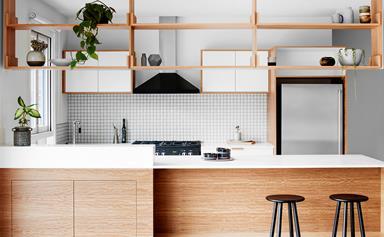 Open plan retro-inspired kitchen reno