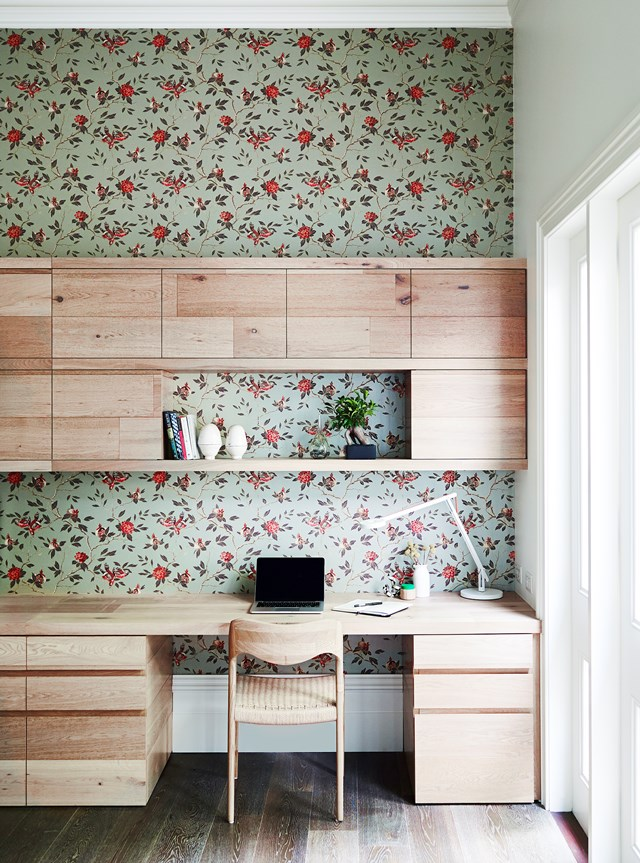 Pretty patterned wallpaper turns a home office into something special. Photo: Mark Roper / *Australian House & Garden*