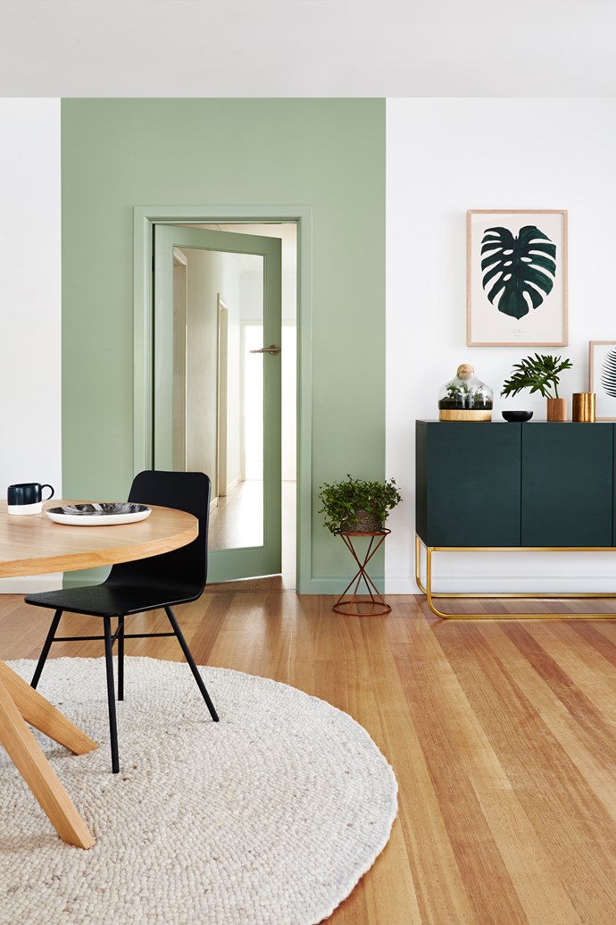 You could also paint in a skirting board using high-gloss paint if you have a more modern space, or even create an interesting focal point around a door with a floor-to-ceiling rectangle of colour. Photo: Dulux Aquamamel.