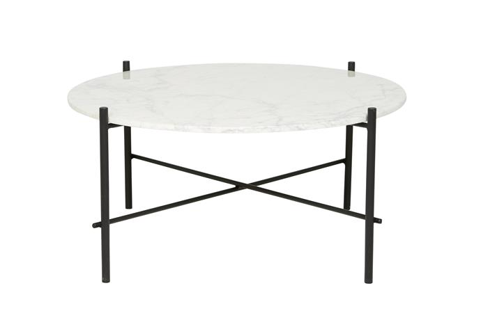 """Elle Pipe **coffee table** in Black/Matt White Marble (80cm x 40cm), $1375, from [Globe West](http://www.globewest.com.au/?utm_campaign=supplier/