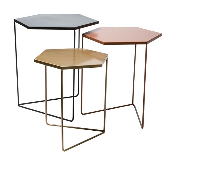 "Nested Metal Geometric **coffee tables** in Black/Copper/Gold (heights: 51cm, 46cm, 41cm), $35 for set of 3, from [Kmart](http://www.kmart.com.au/?utm_campaign=supplier/|target=""_blank"")."