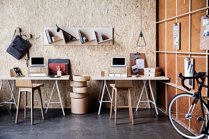 "**Garage // Workspace** Tilt it Hilver/Lerberg **desks** in Bamboo/White, $129 each, [Ikea](http://www.ikea.com.au/?utm_campaign=supplier/|target=""_blank""). Marina plywood counter **stools** in Ash, $249 each, [Life Interiors](http://www.lifeinteriors.com.au/?utm_campaign=supplier/