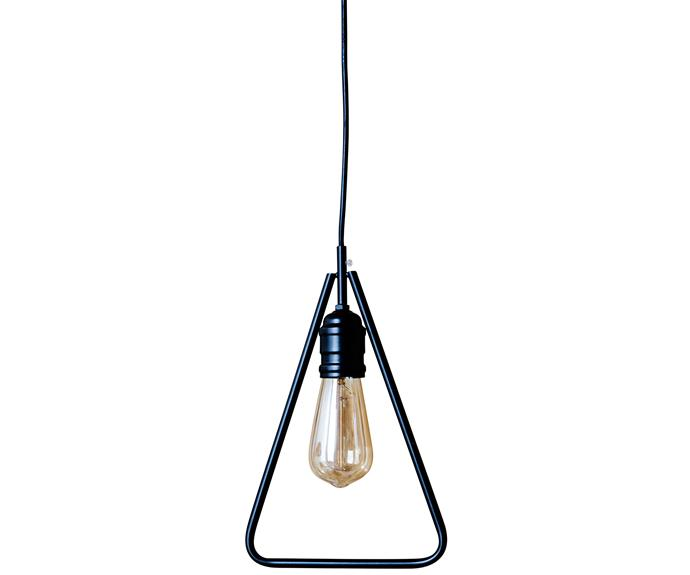 "Ilta Triangle **pendant light**, $119.90, [Valo Design](http://www.valodesign.com.au/?utm_campaign=supplier/|target=""_blank"")."
