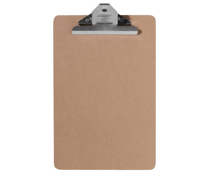 "Masonite **clipboard**, $7.47, [Officeworks](http://www.officeworks.com.au/?utm_campaign=supplier/|target=""_blank"")."