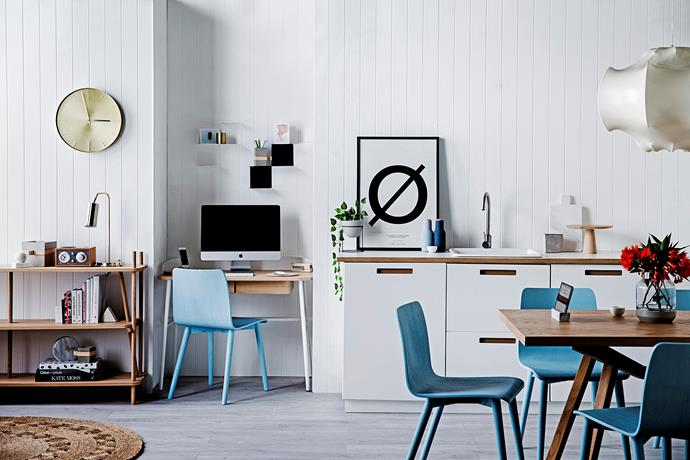 "**Kitchen // Office nook** Handy hub Harto ""Simone"" **bookcase**, $1458, Victor **desk**, $1512, and Sketch ""Tami"" **chairs** in Dusty Blue, $295 each, [Clickon Furniture](http://www.clickonfurniture.com.au/?utm_campaign=supplier/