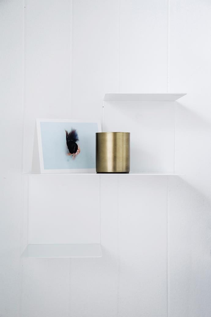 "Harto ""Linette"" **shelf system**, $340 each, [Clickon Furniture](http://www.clickonfurniture.com.au/?utm_campaign=supplier/|target=""_blank""); displaying Kinfolk **cards**, $34.95 for 12, [Opus Design Co](http://opusdesign.com.au/collections/opus-design-co/?utm_campaign=supplier/|target=""_blank""), Brass **jar**, $90 for 2, [Zakkia](http://www.zakkia.com.au/?utm_campaign=supplier/|target=""_blank"")."