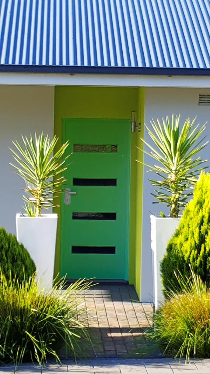 Glass panels and colour make this door extra special. Photo: Bauersyndication.com.au