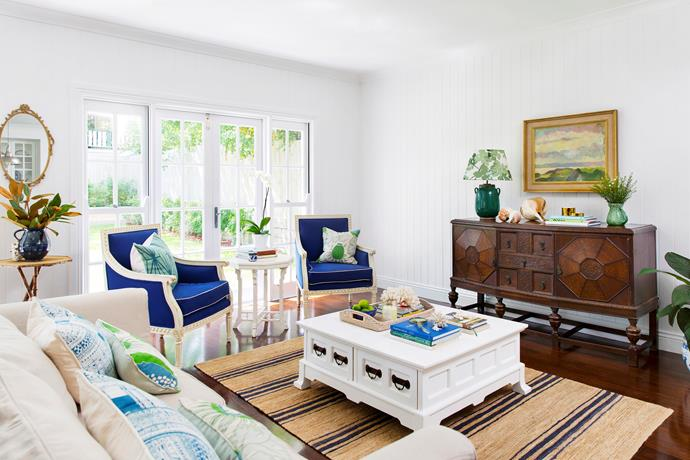 """""""We painted the walls and ceilings the same crisp white to create a gallery feel,"""" says Claudine. """"Using the same colour greatly reduced the costs too since no cutting in was required."""" Sofas, [French and English](http://www.frenchandenglish.com.au/