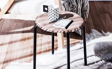 DIY leather stool