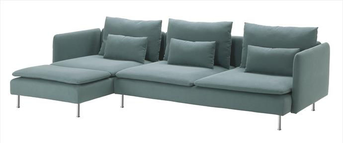 """Versatile and affordable, this reconfigurable design offers a ply frame with woven elastic base for support, high-resilience foam seat cushions, machine-washable cotton-blend covers and matching lumbar cushions. Soderhamn 3-seater sofa plus chaise in turquoise, $1138, [Ikea](http://www.ikea.com.au/?utm_campaign=supplier/ target=""""_blank"""")."""
