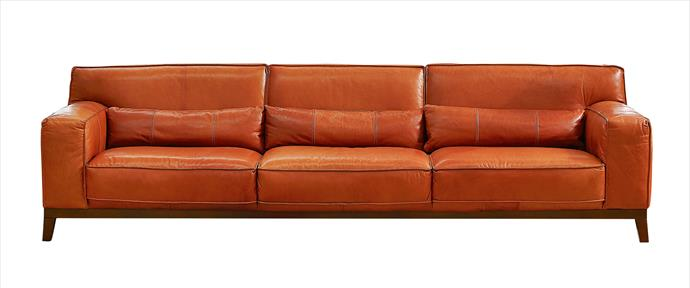 """A modern, low-slung profile in waxed semi-aniline leather upholstery covering a birch and plyboard frame. Sit back in comfort on cushions filled with a mix of feathers and high-resilience foam cushioning. Reno 3.5-seater sofa in nicopelle vintage, $6899, [Domayne](http://www.domayneonline.com.au/?utm_campaign=supplier/ target=""""_blank"""")."""