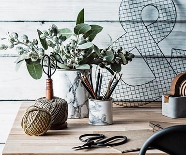 DIY marble-look storage tin