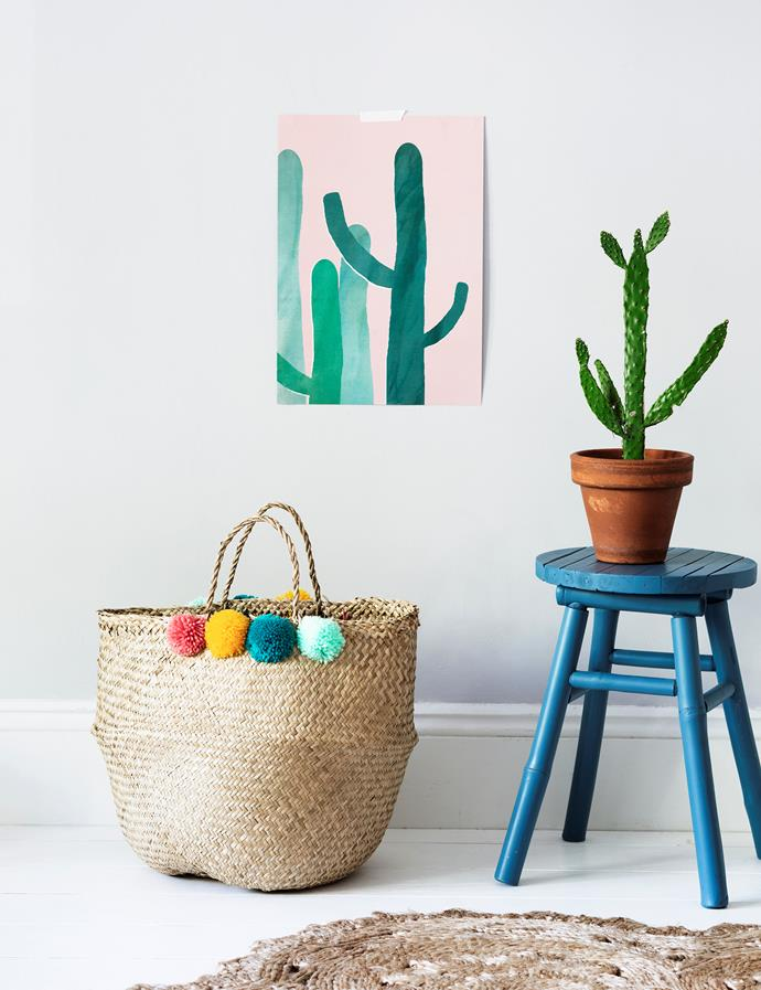 Cacti are epitome of boho styling, grow the real thing or you can opt for the wall-art variety.