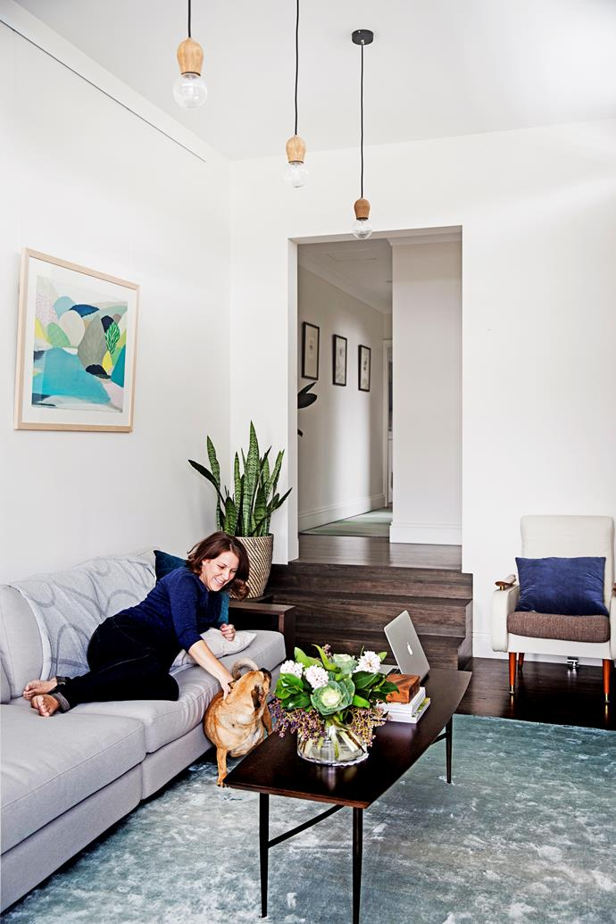 The living area is Mahani's favourite space. Coffee table from West Elm. Artwork by Belynda Henry.