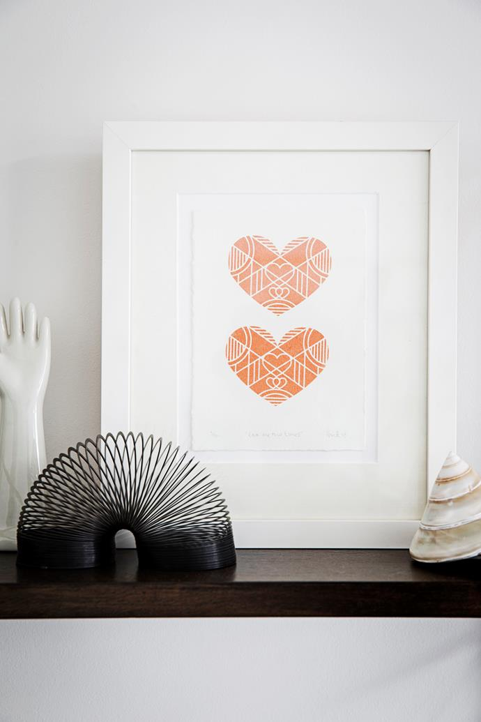 """The """"Love Me Two Times"""" ROPE COIL VESSEL print is by Mahani."""