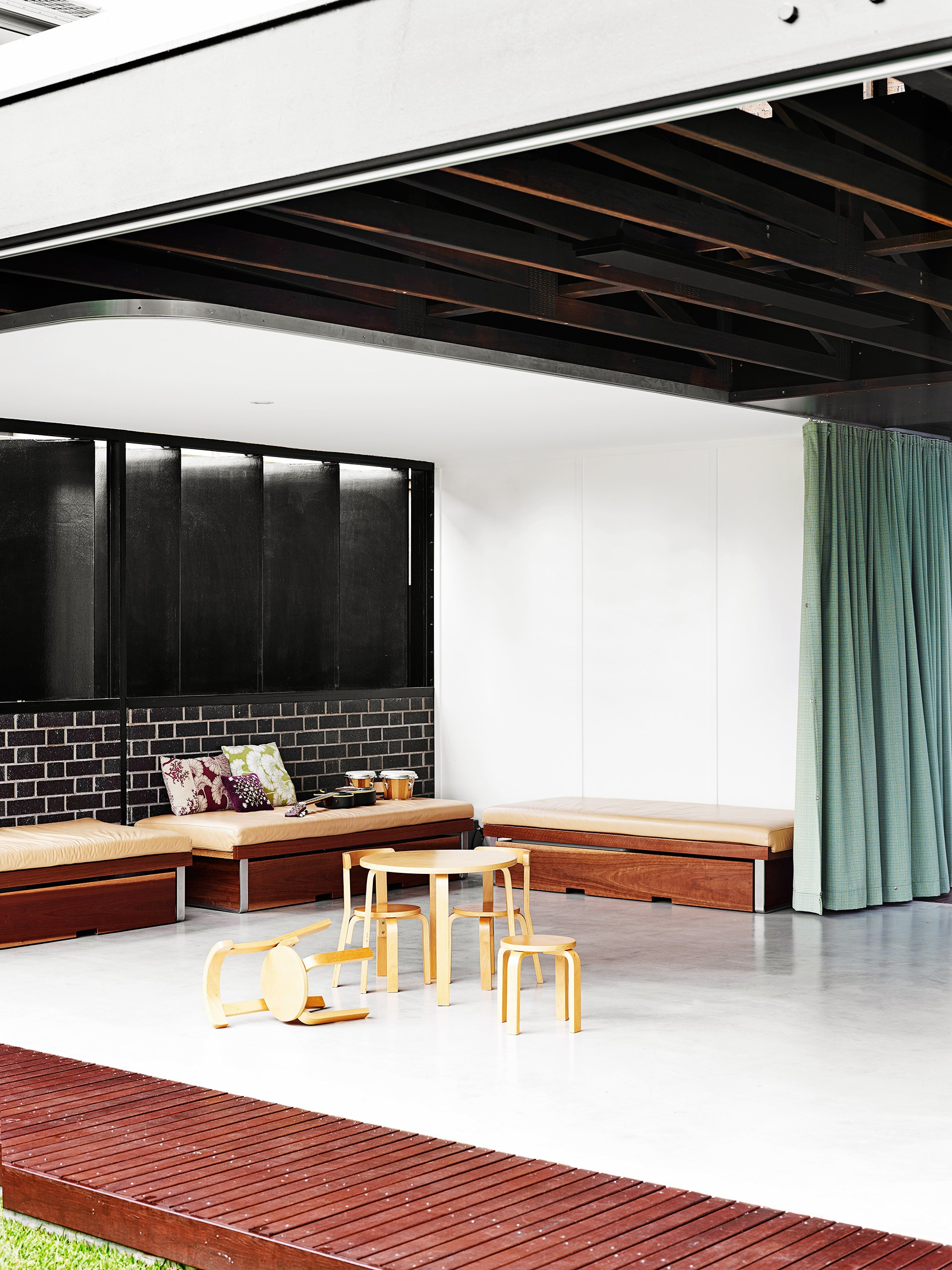 """Cool concrete flooring is perfect for this [new build](http://www.homestolove.com.au/brisbane-home-takes-indoor-outdoor-living-to-a-new-level-3398