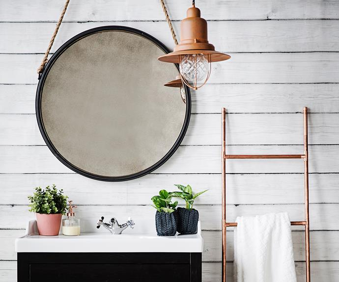 """**Copper towel rail** Get those wet towels off the floor while adding a luxe touch your bathroom with this budget-friendly copper towel rack. [Watch this video to learn how to make your own](http://www.homestolove.com.au/how-to-make-a-copper-towel-rail-3407