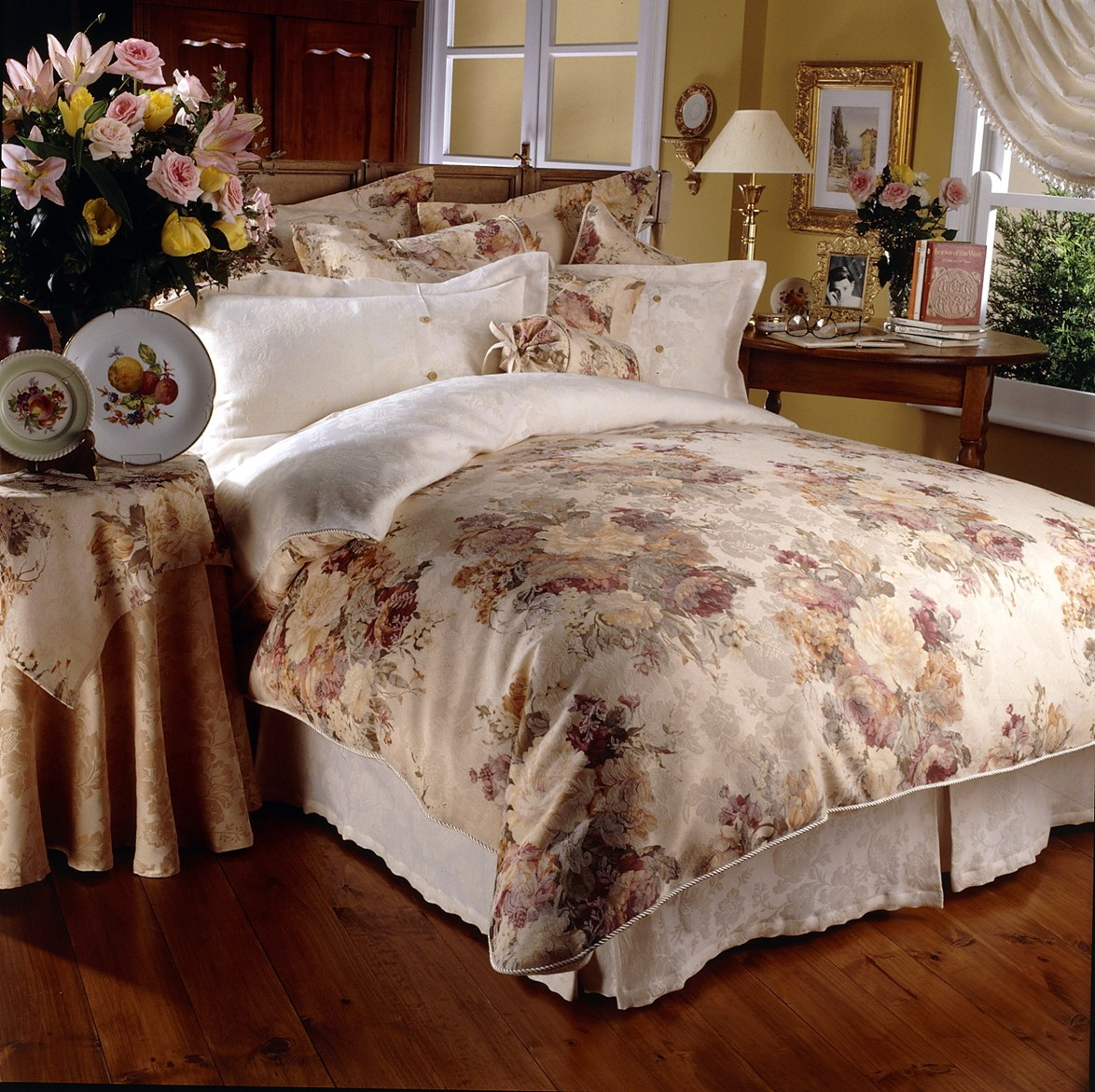 **English country-cottage style:** think romantic ruching and pleating.