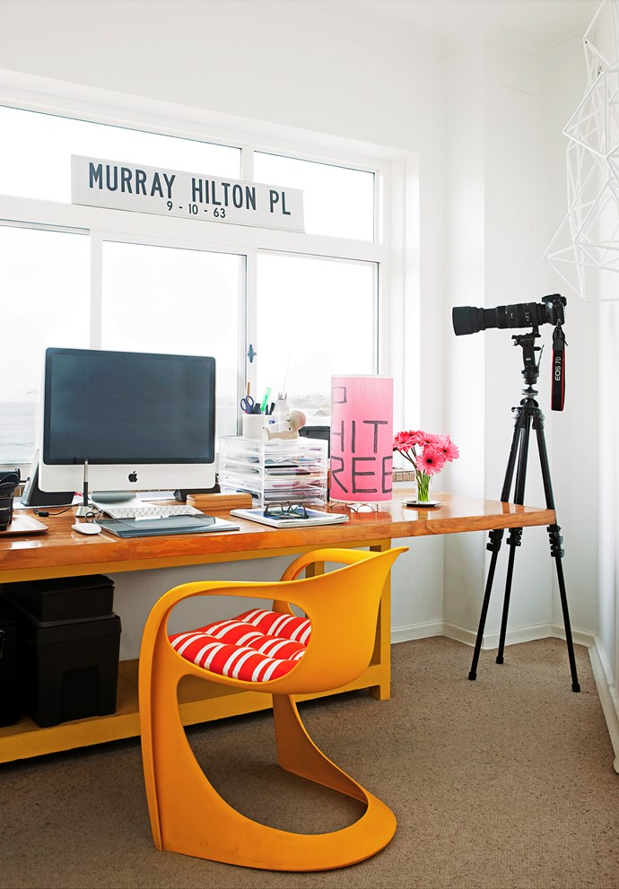 """The """"Murray Hilton"""" sign in the offi ce studio was a gift from a Brisbane friend who makes street signs. The white wall sculpture (just seen) is by Dion Horstmans."""
