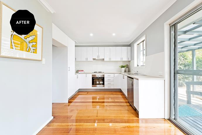 """The new kitchen is much better integrated into the open-plan living and dining area,"" explains Cherie. The total cost of the renovation was $6,000."