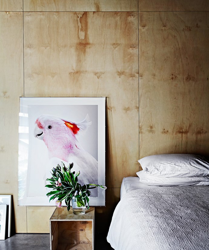 Although Georgie is in the process of interior decorating, the current minimal look has a distinct charm. In the master bedroom, a fine art photograph – Matilda, Major Mitchell's Cockatoo – by Leila Jeffreys provides a simple adornment leaning casually against the wall.