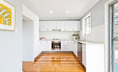 Awkward galley kitchen gets modern makeover for $6000