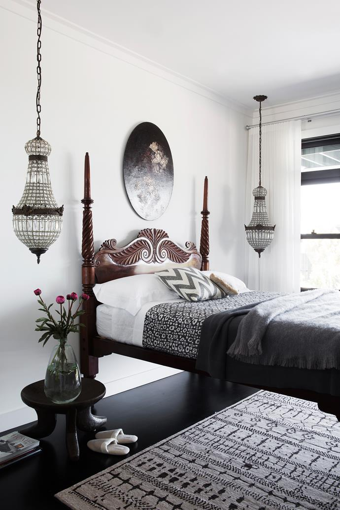 """It's the idyllic, exotically furnished main bedroom that Tania loves most. """"I think it's important for us, and we lead busy lives, to have somewhere to retreat,"""" she says."""