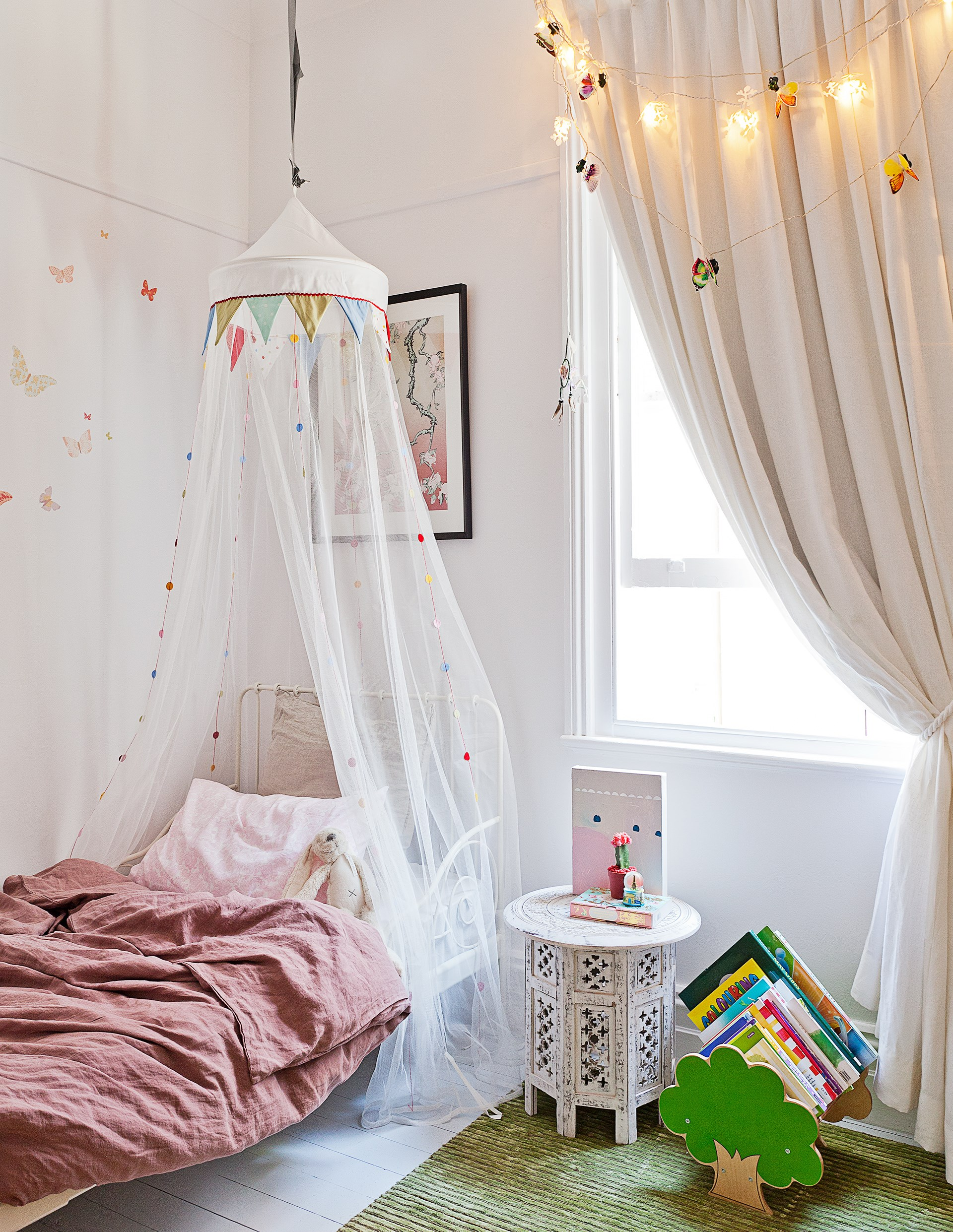 """Pink is a classic choice for a girl's bedroom and dusty shades work beautifully in this [stylish Bondi home](http://www.homestolove.com.au/semi-detached-cottage-gets-a-crisp-and-contemporary-makeover-3479 target=""""_blank""""). Photo: Felix Forest"""