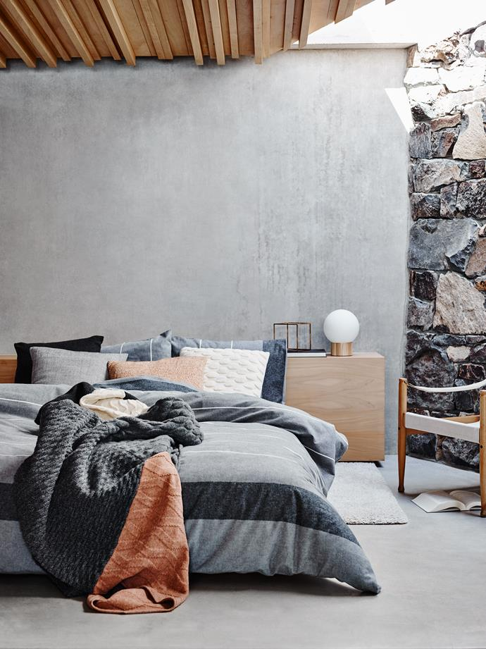 "Bringing together knitted blankets and textured quilts is a simple way to [cosy up your bedroom](http://www.homestolove.com.au/cosy-up-the-bedroom-this-winter-3329|target=""_blank"") this winter."