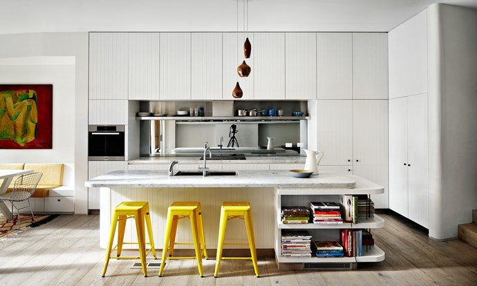 """Rounded edges and simple timber joinery create an informal kitchen space. Take a tour of this [transformed Sydney terrace](http://www.homestolove.com.au/a-terrace-transformed-3501