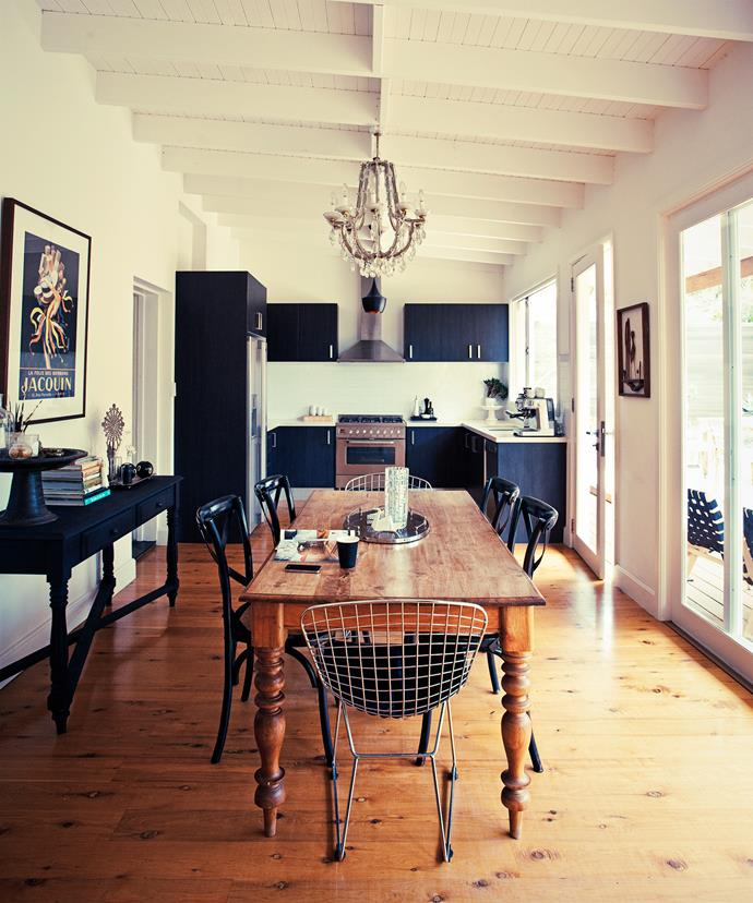 "Taking centre stage in the dining area is an antique wooden table Priscilla bought on eBay. The chandelier, from [The Bronte Tram](http://www.brontetram.com/?utm_campaign=supplier/|target=""_blank""), adds a touch of vintage glamour, while the timber and metal chairs from [Matt Blatt](http://www.mattblatt.com.au/?utm_campaign=supplier/