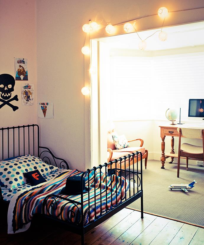 "Ruby and Frankie may share a bedroom, but off to the side is a sunroom, which they use as a play area and disco. [Ikea](http://www.ikea.com.au/?utm_campaign=supplier/|target=""_blank"") beds are dressed with colourful crocheted blankets bought from second-hand markets."