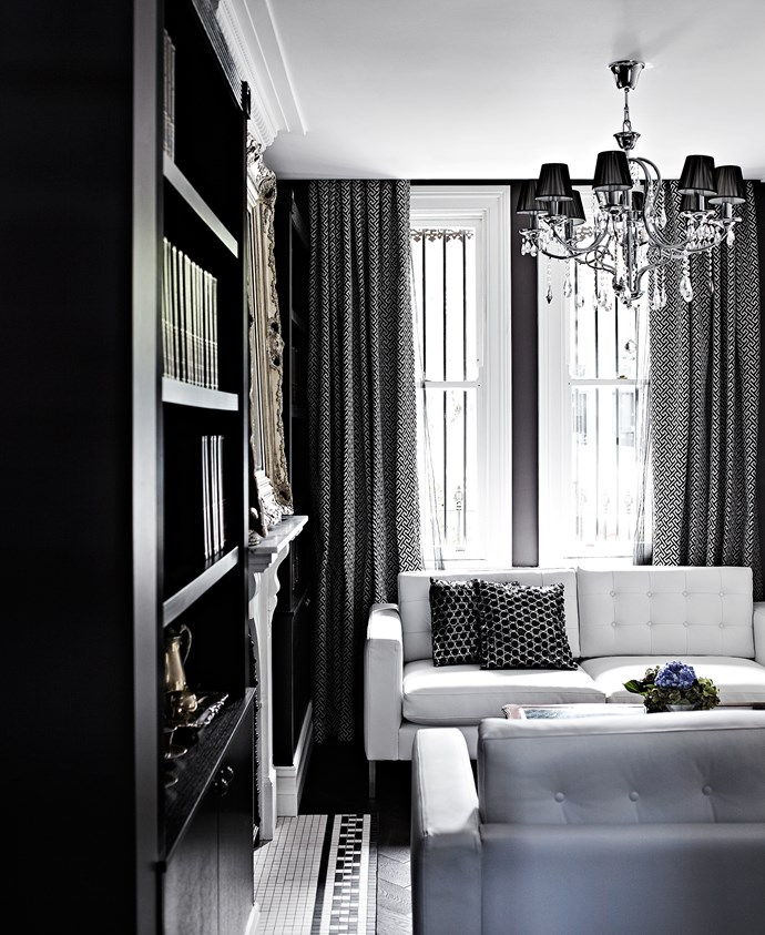 Previously a bedroom, the front of the house was transformed into a formal sitting area.
