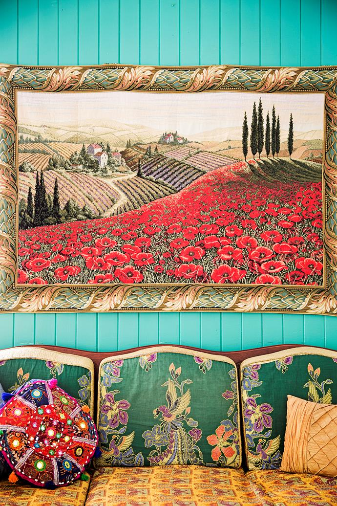 The tapestry was bought at a market in Florence, Italy.