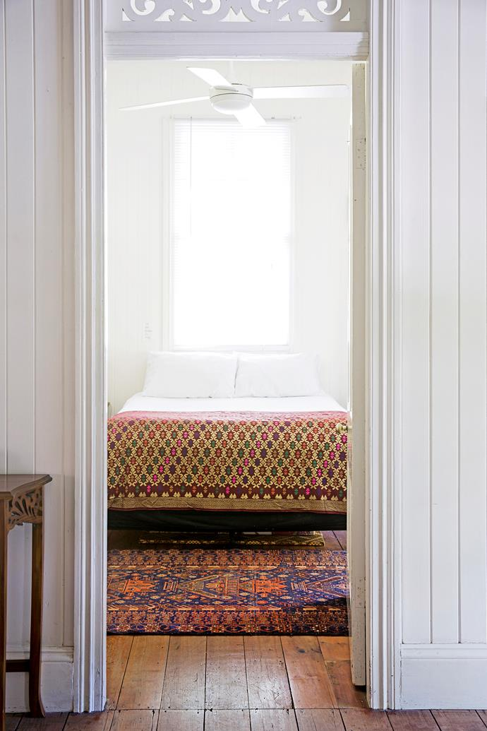 The throw on the bed is made from cloth Leonie picked up in India.