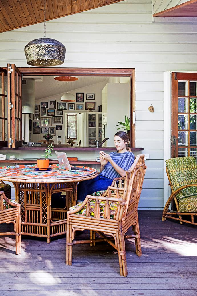 Leonie works from home, either in the study or on the deck.