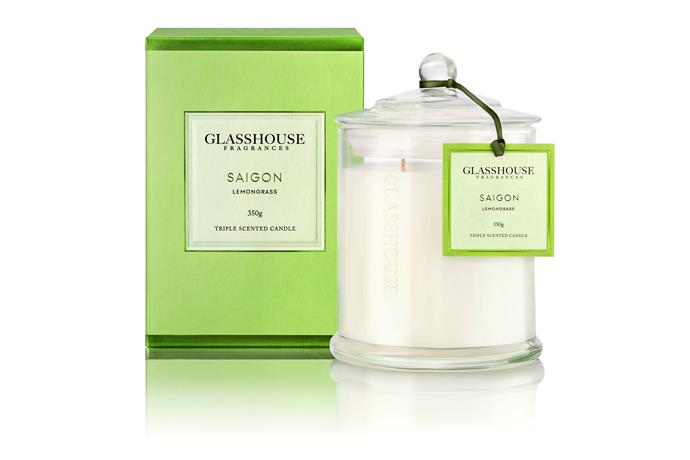 "[The Glasshouse Fragrance Saigon](http://www.glasshousefragrances.com/|target=""_blank""), with its blend of lemongrass, orange, lime and bergamot scents is a perfect way to add a burst of energy to a room."