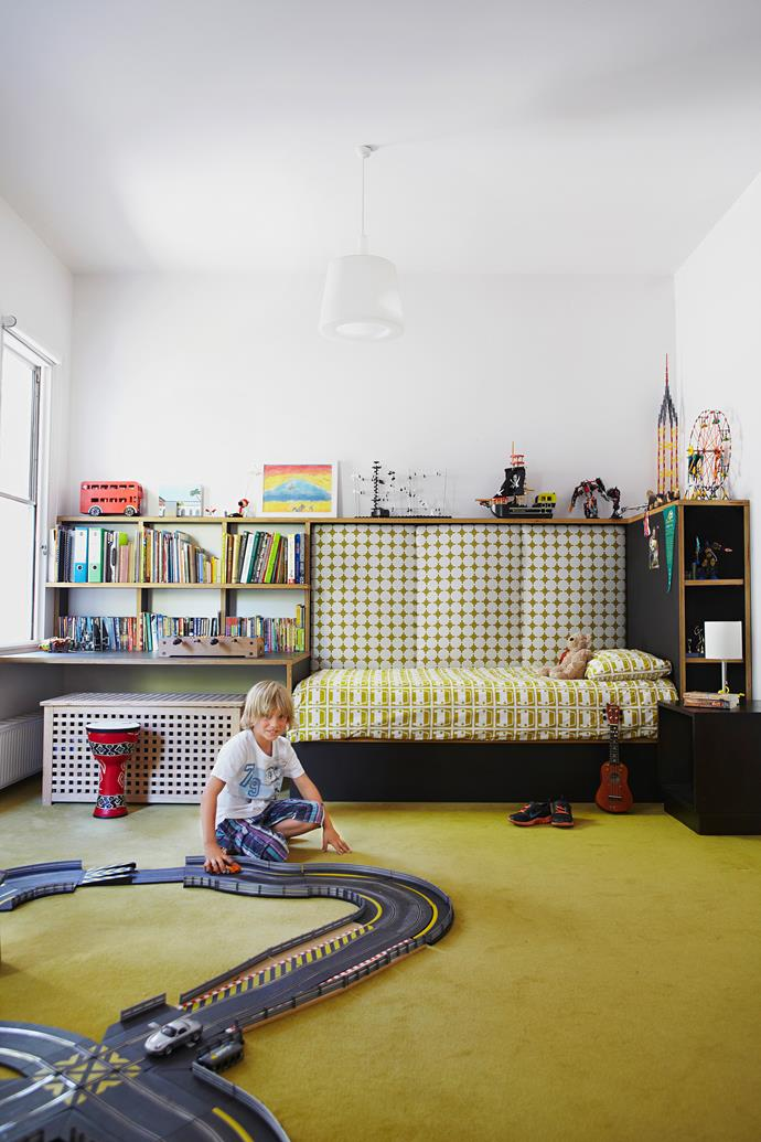 Formerly the home's living room, Linus' generous bedroom has ample play space.