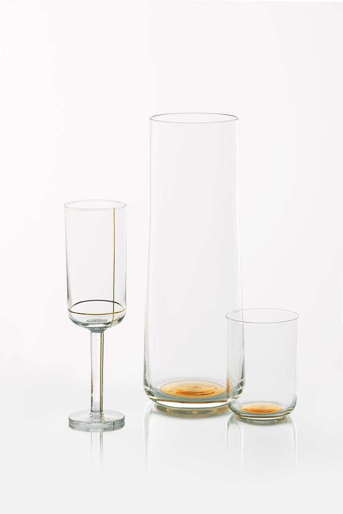 """Colour glass **carafe** in Gold Dot, $63, and low water **tumbler** in Gold Dot, $28, [Hay](http://hay.dk/?utm_campaign=supplier/