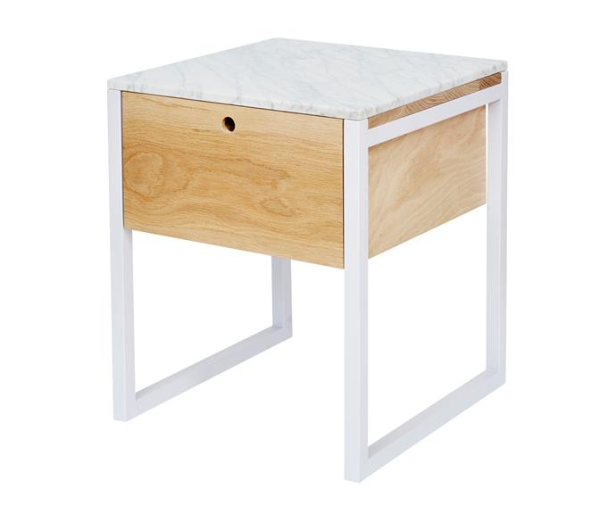 """Max Italian Carrara marble **bedside table** in American Oak, $995, [Urban Couture](https://www.urbancouture.com.au/?utm_campaign=supplier/