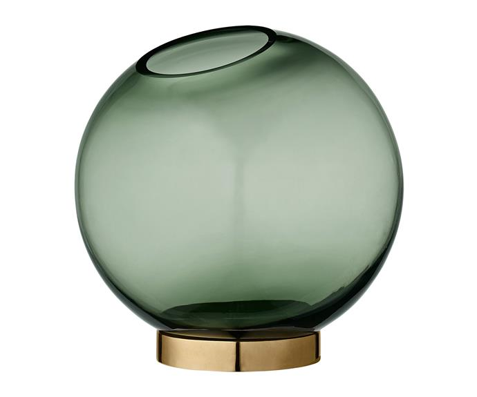 """AYTM """"Global"""" round glass **vase** in Forest/Brass, $129, [Urban Couture](https://www.urbancouture.com.au/?utm_campaign=supplier/ target=""""_blank"""")."""