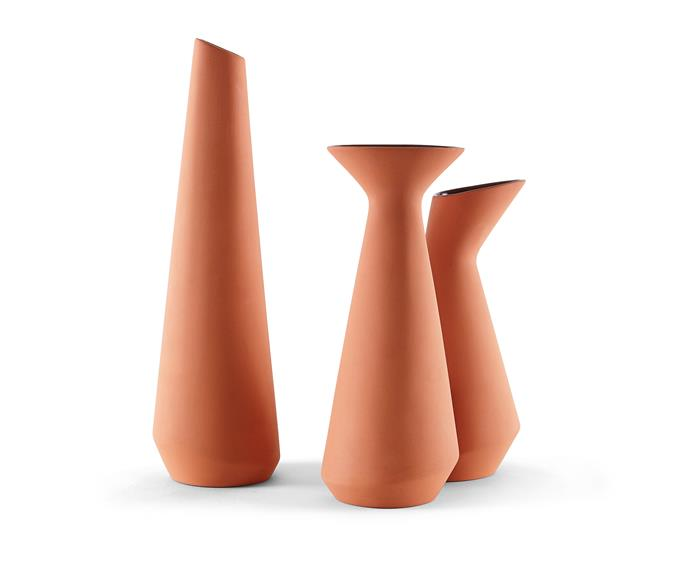 "Incipit Sula tall **vessel** in Terracotta, $159, [Meizai](http://www.meizai.com.au/?utm_campaign=supplier/ target=""_blank"")."