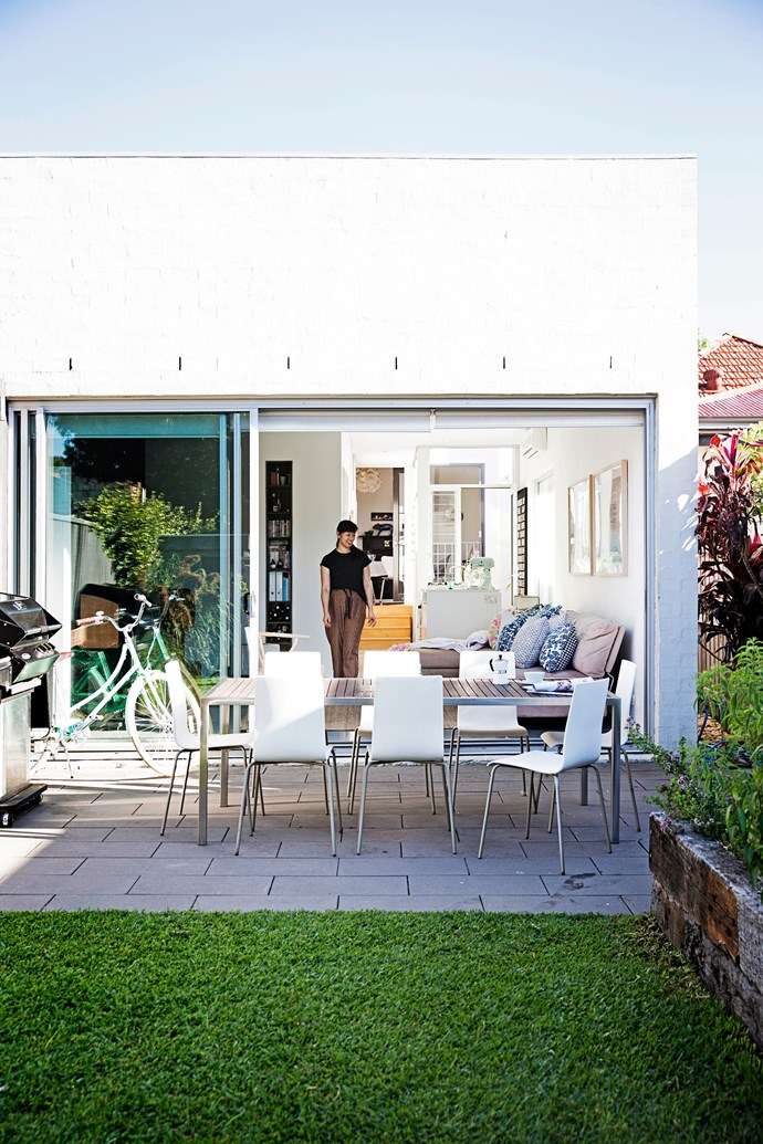 """""""During summer we leave the house open – there's a big glass sliding door at the back and louvres and French doors in the middle. We love having friends over for dinner and in drinks in the backyard."""""""
