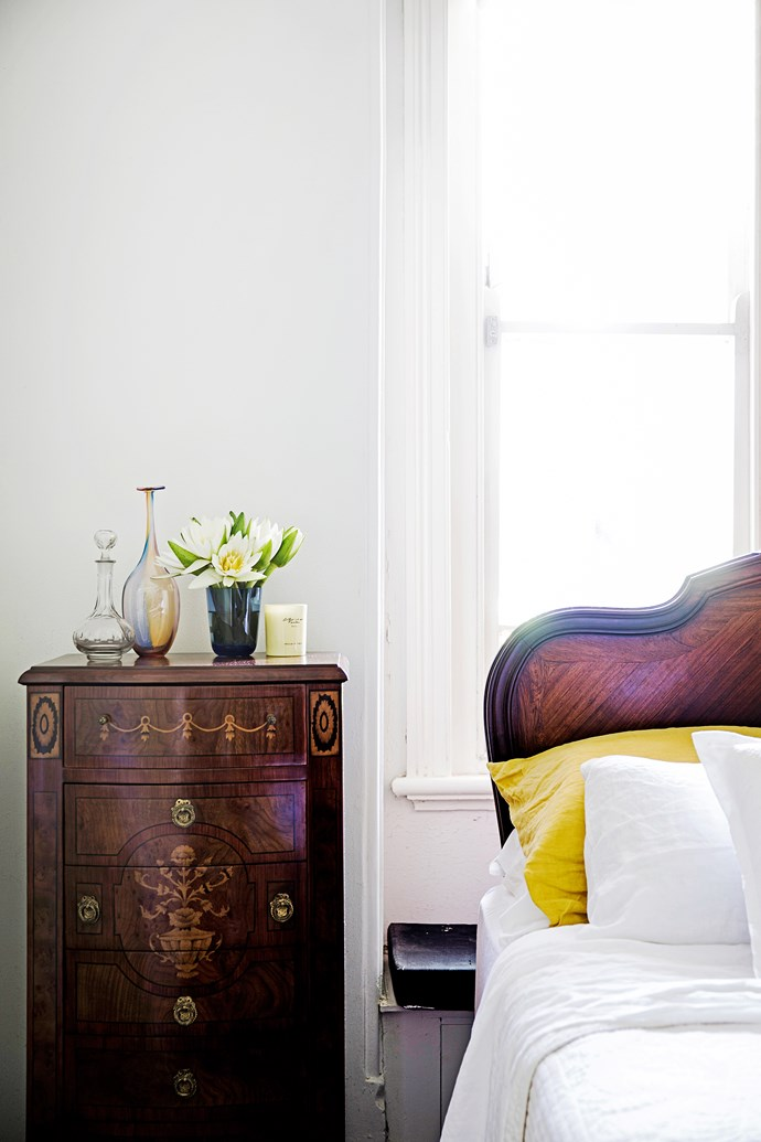 """The antique bed was altered to fit a queen-size mattress. """"When it was made no such thing existed!"""" Vanessa explains."""