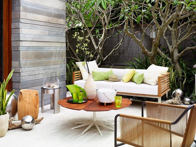 **6. Keep things simple.** Set the overall mood outdoors by extending the cosy, comfortable atmosphere that you carefully curated inside. Do this by opting for a neutral palette, soft textures and plastic kitchenware in pops of colour. Photo: John Paul Urizar / Bauersyndication.com.au.