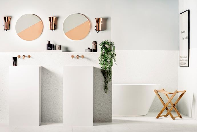 """The rule of thumb with bathrooms is to light from both sides of your face, so when you're looking in the mirror you don't have just one light source because it creates shadowing,"" Celina explains. ""So, put lights on the wall either side of the mirror."""