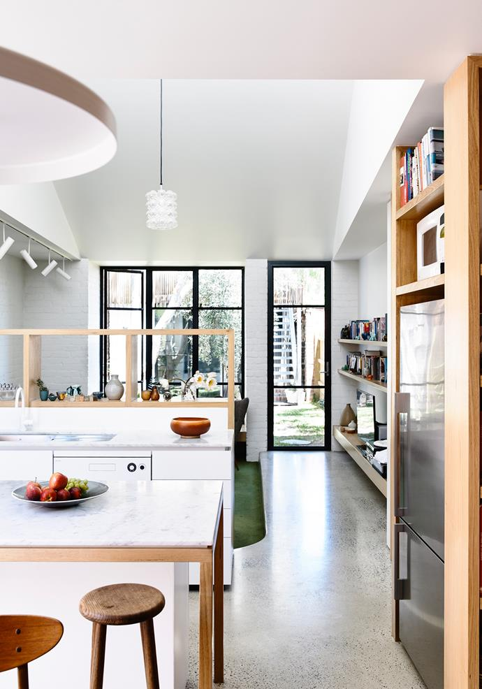 """Both Chloe and Scott are keen cooks who are thrilled with the kitchen. """"Marble benchtops are a long-held dream for us,"""" says Chloe."""