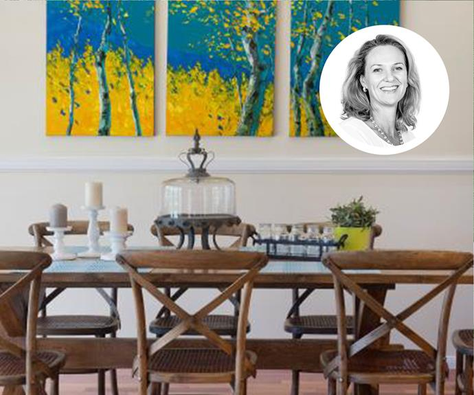 "[Kim Black](http://www.kimblack.com.au/?utm_campaign=supplier/|target=""_blank"") has styled this dining room with French-provincial accessories that tie in with the adjoining kitchen."