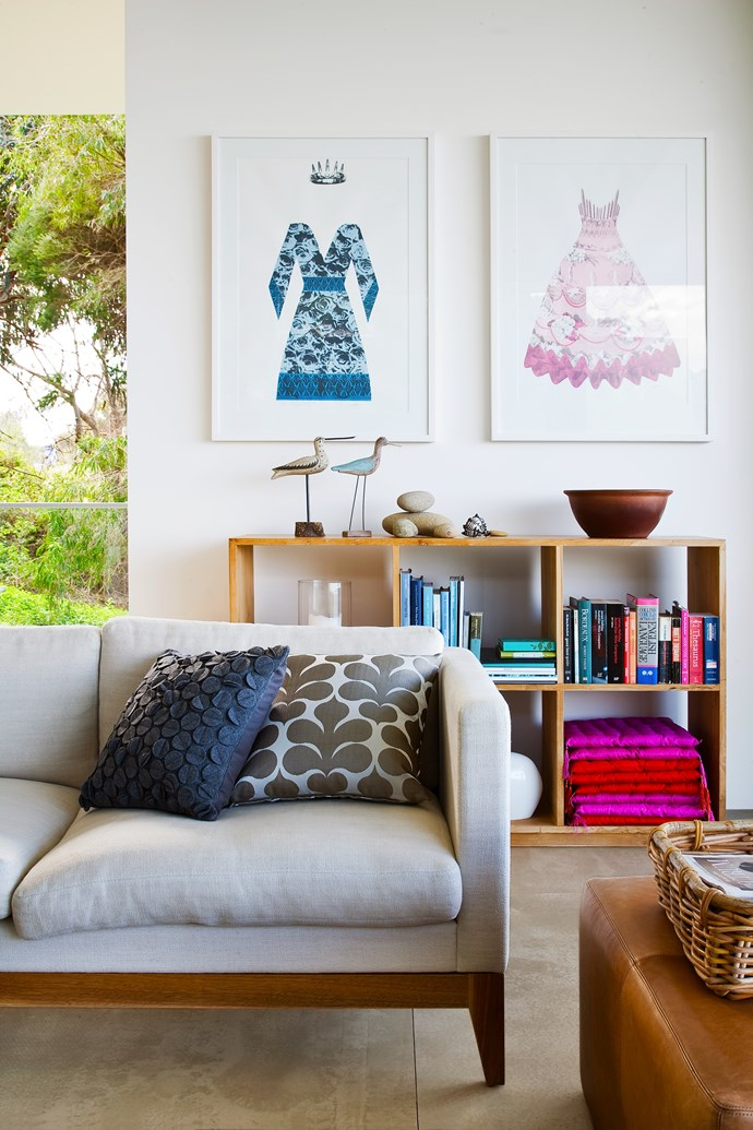 "The color palette for this [contemporary coastal home](http://www.homestolove.com.au/contemporary-coastal-home-provides-the-ultimate-sanctuary-2794|target=""_blank"") is navy- to pick up on the ocean's views- with pockets of vibrant pink and tangerine working as natural complements."
